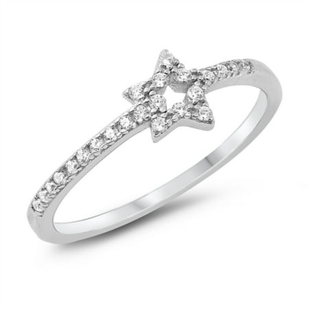 Clear Prong Set Cubic Zirconia Shooting Star Ring Sterling Silver Size - Prong Set Star