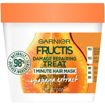Garnier Fructis Damage Repairing Treat Papaya 1 Minute Hair Mask 3.4 FL - Papaya Hair Butter