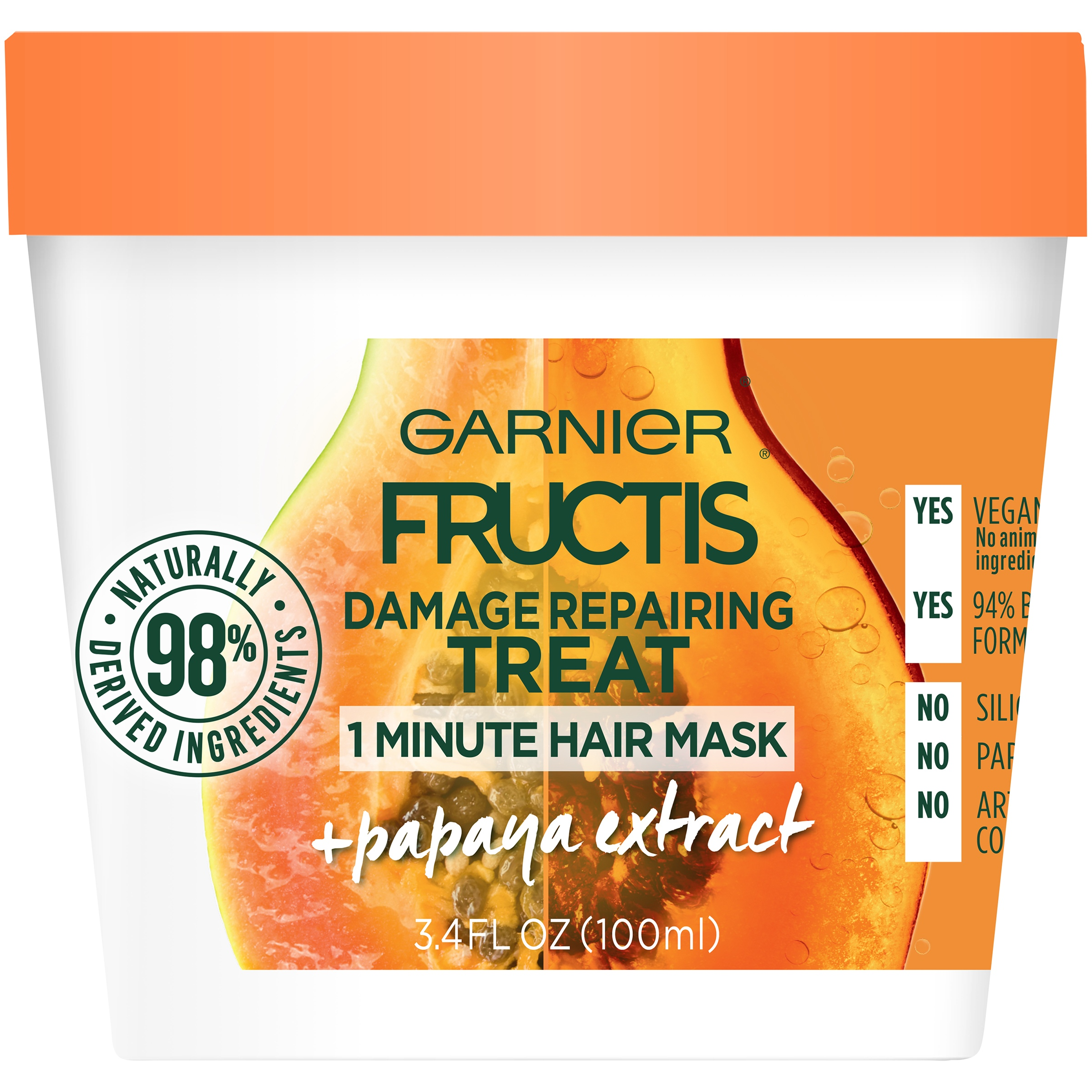 Garnier Fructis Damage Repairing Treat Papaya 1 Minute Hair Mask 3.4 FL OZ