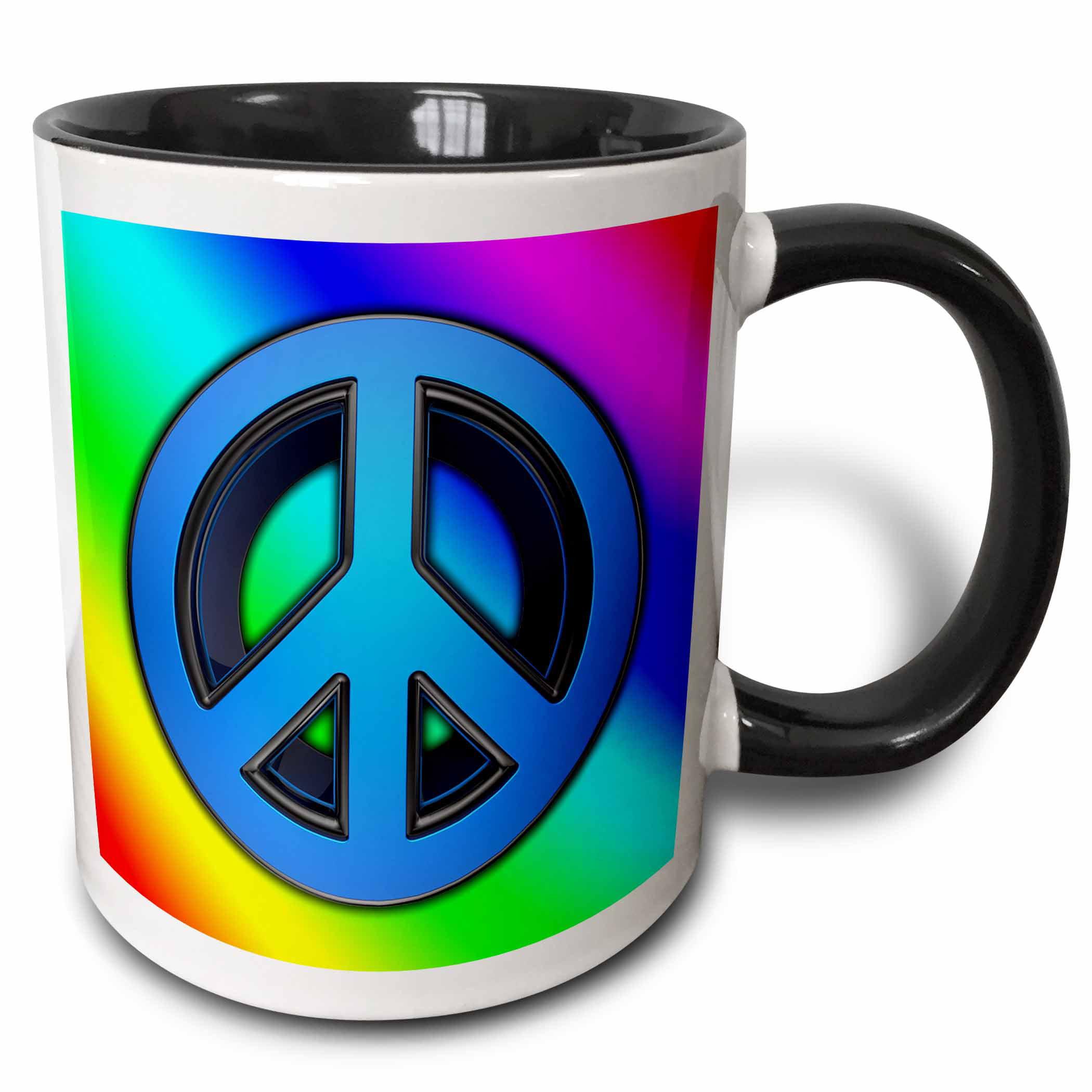 3drose Peace Sign Over Rainbow Background Love Two Tone Black Mug 15 Ounce Walmart Com Walmart Com