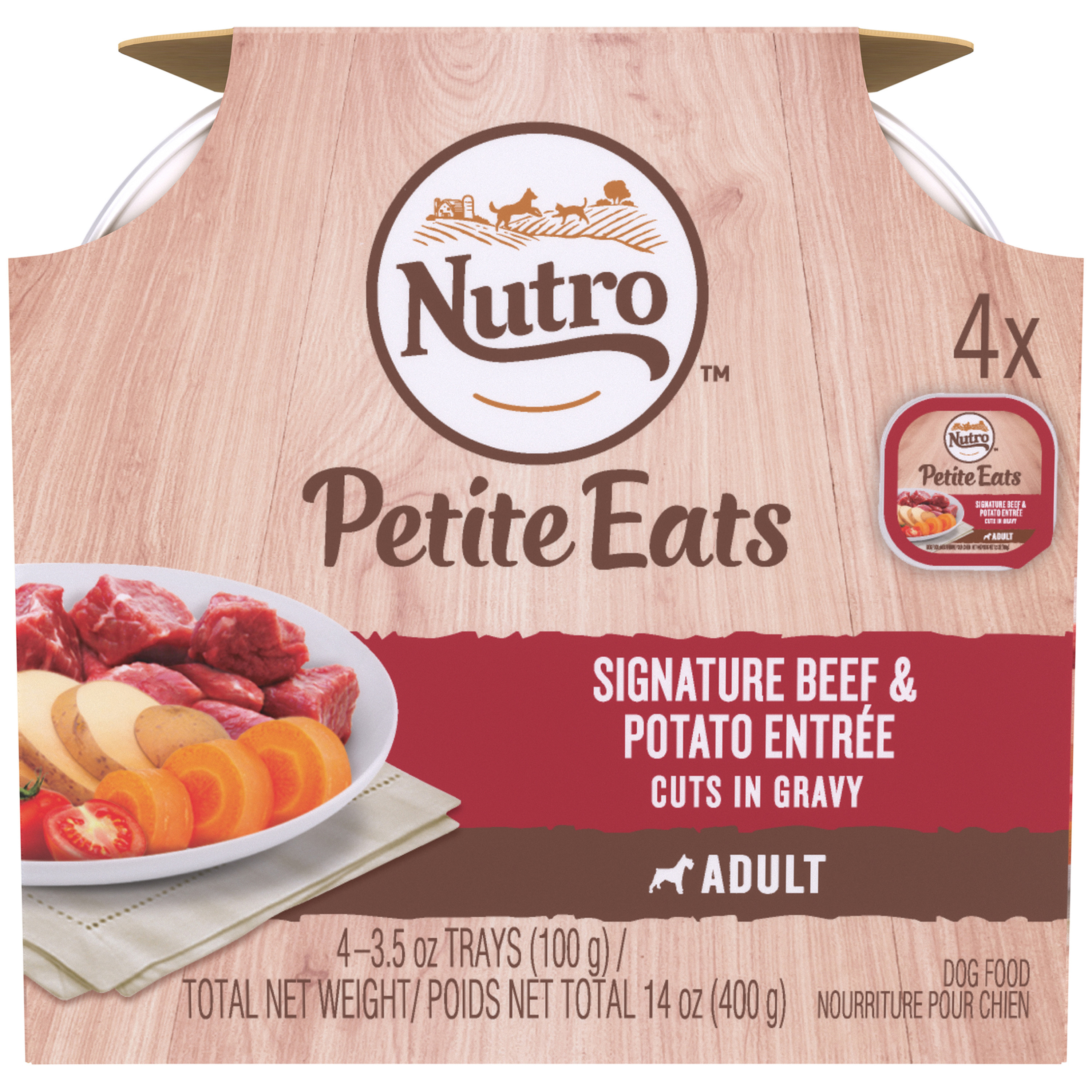Nutro Petite Eats Wet Dog Food Multipack, Signature Beef & Potato Entrée Cuts in Gravy, 3.5 Oz Trays (Pack of 4)