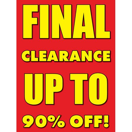 Final Clearance Retail Display Sign, 18