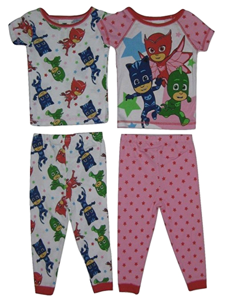 Delightful Disney Babies Toddler Girls Pink Cotton PJ Masks Pajamas 4 Piece Sleep Set    Walmart.com
