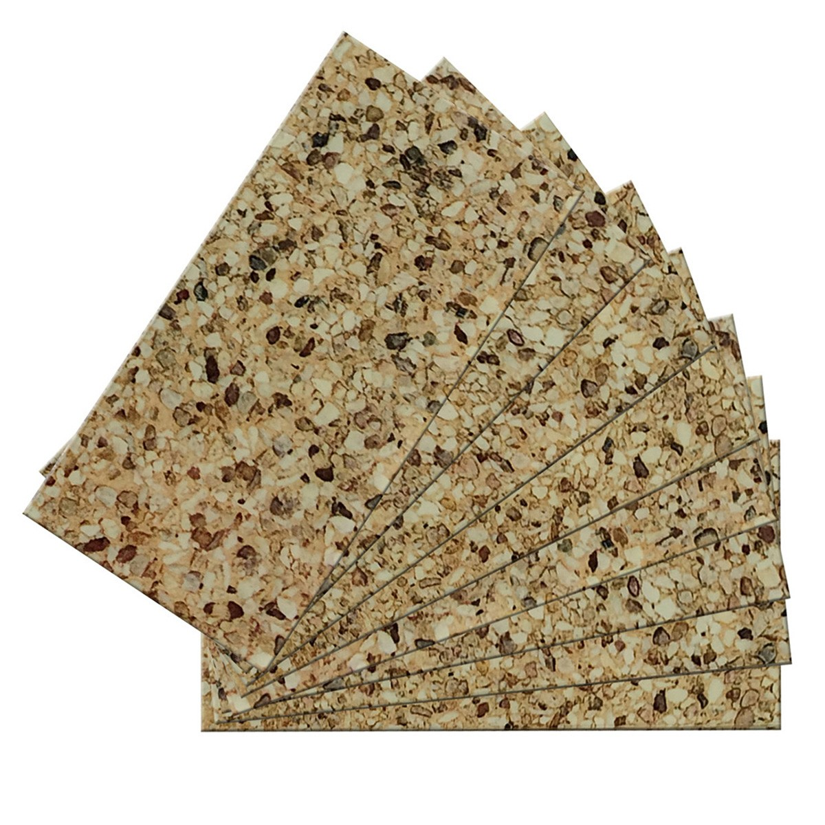 SkinnyTile 04407 Peel and Stick Washed Gravel Shades 6 in. x 3 in. Glass Wall Tile (48-Pack)