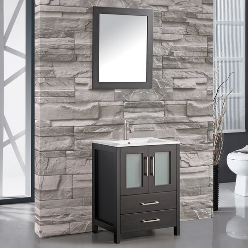 MTD Vanities Argentina 24'' Single Sink Bathroom Vanity Set with Mirror