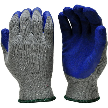 G & F 3100S-DZ Knit Work Gloves, Textured Rubber Latex Coated for Construction, 12-Pairs, Men's - Rubber Coated Work Gloves