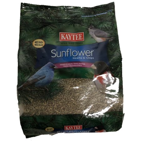Kaytee Sunflower Hearts and Chips, Wild Bird Feed and Seed, 5 Pounds (Sunflower Wild Bird Seed)