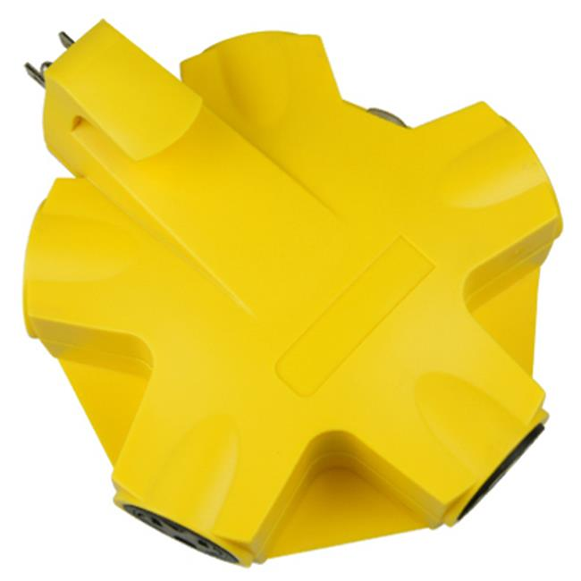 CT-043 Yellow 5 Outlet Indoor Rated Adapter