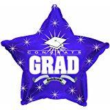 18 Inch Congrats Grad Purple Star Balloons