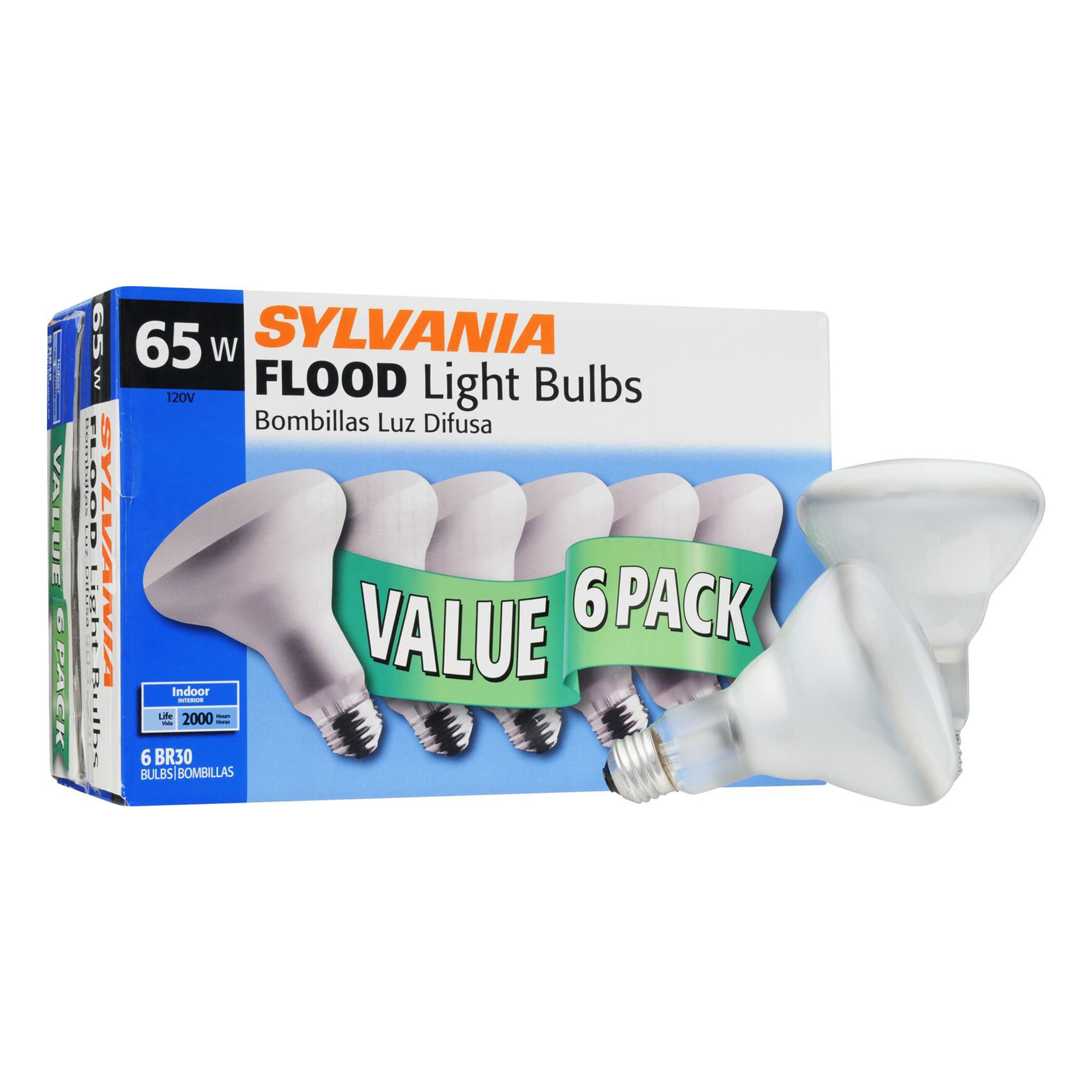 Sylvania 65W BR30 Incandescent Flood Light Bulbs, 6 Pack