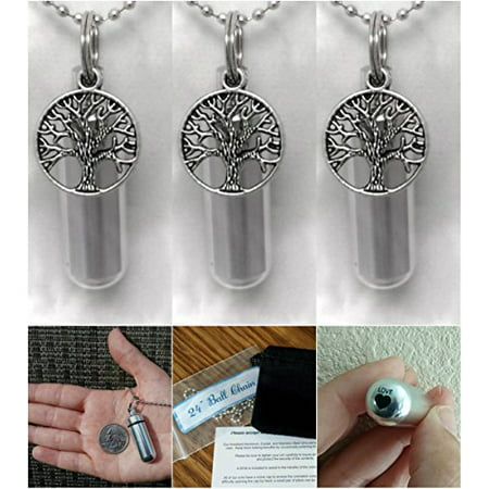 - THREE (3) Beautiful TREE-OF-LIFE CREMATION URN Keepsakes with Laser Engraved Hearts - Includes Velvet Pouches, Ball-Chains & Fill Kit