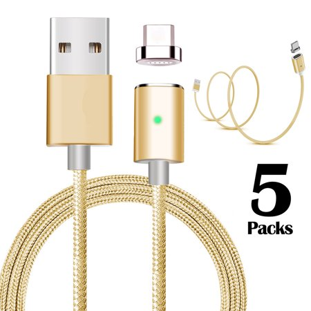 5Pcs Nylon Magnetic Usb Type C Charger Charging Cables Cords 3 3Ft For Sam S8 Plus Lg G6 Google Apple Mac