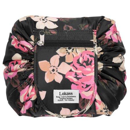 3f2fa75ded00 Drawstring Cosmetic Bag Lazy Travel Makeup Bag Floral Make Up ...