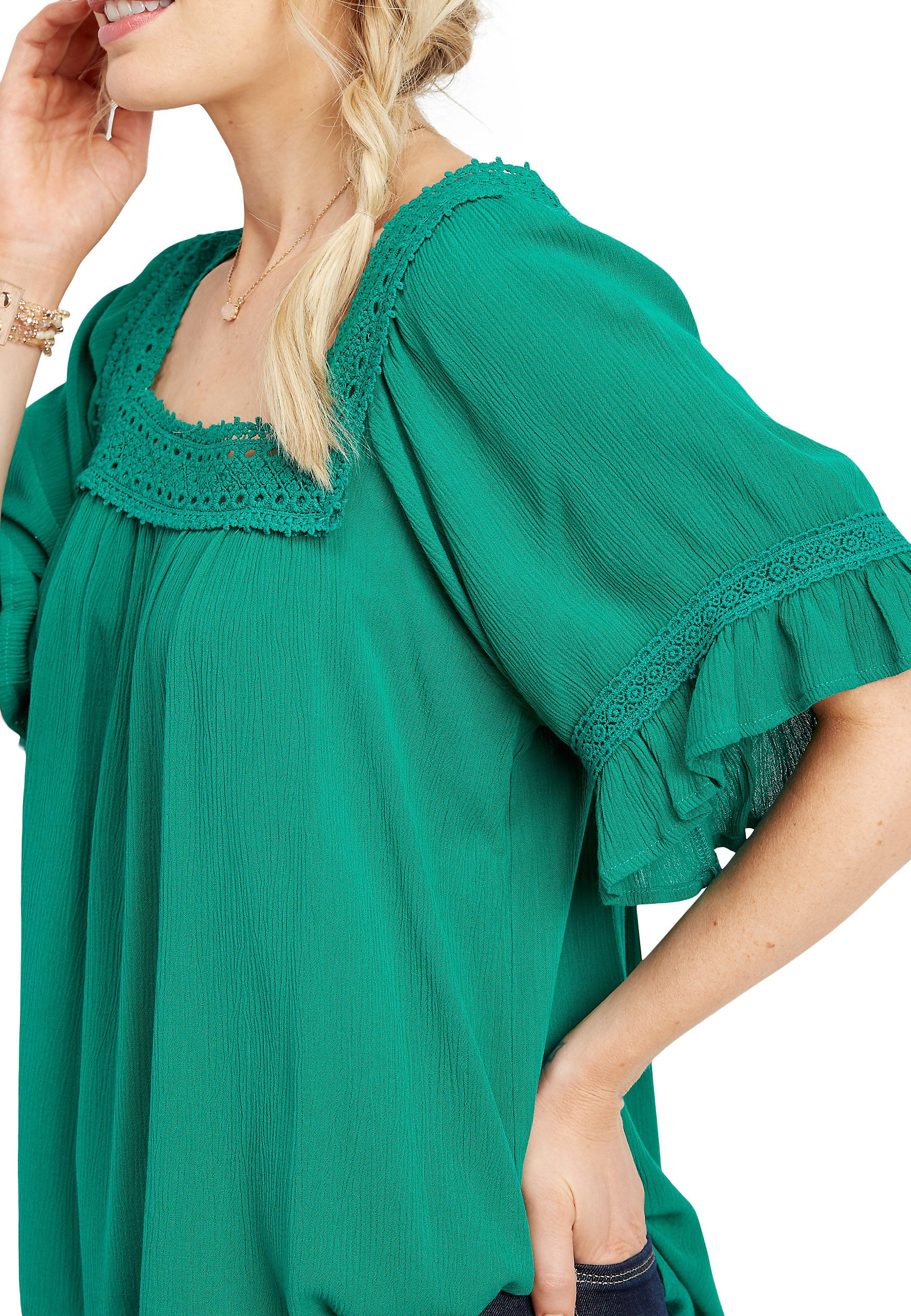 Crocheted Square Neck Top