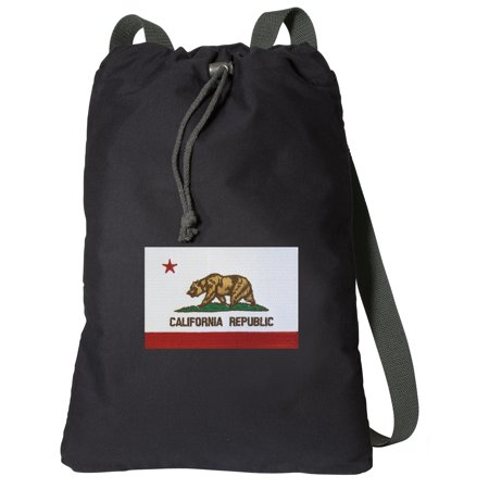 Canvas California Flag Backpack Natural Cotton California Cinch Bag Lined and with Wide Straps