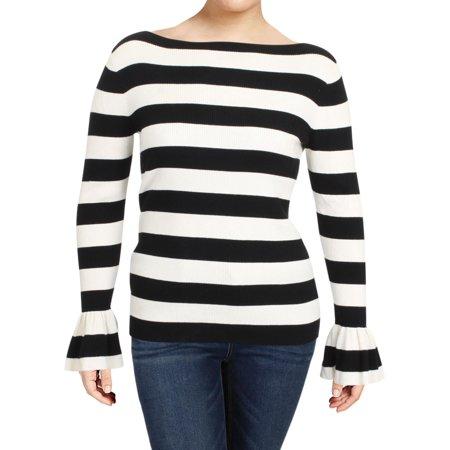 Lauren Ralph Lauren Womens Rib Knit Bell Sleeve Pullover Sweater ()