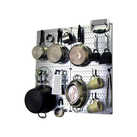 Wall Control Kitchen Pegboard Organizer Pots and Pans Pegboard Pack Storage and Organization Kit with Metallic Silver Pegboard and Black Accessories (Pegboard Storage)