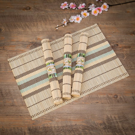 "THY COLLECTIBLES Eco-Friendly 18"" x 12"" Bamboo Table Place mats Non-slip Table Decor Mats for Kitchen Dining Room Set of 4, Multi-colored"