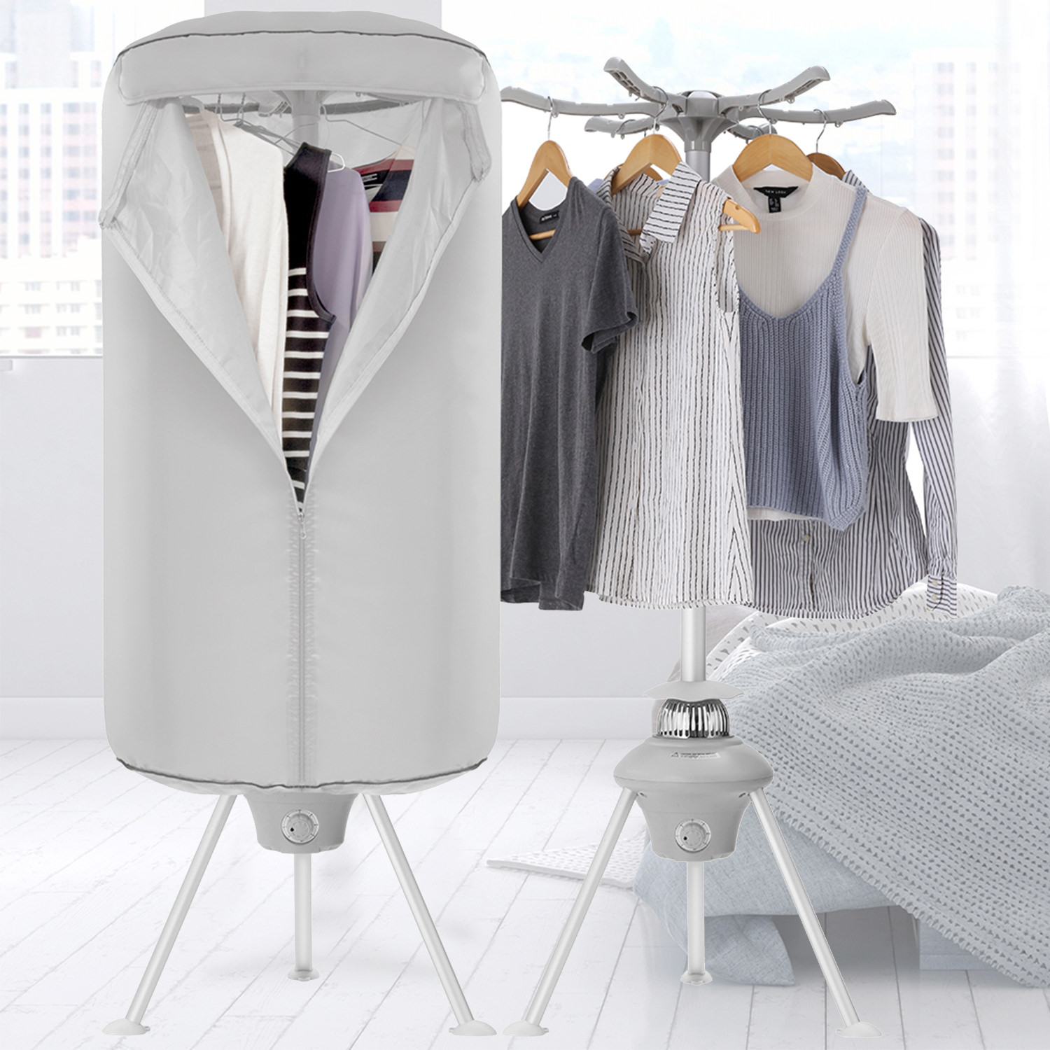 Portable Clothes Dryer 1000W Electric Laundry Drying Rack Capacity Folding Dryer Quick Dry & Efficient Mode Digital Automatic Timer with Remote Control