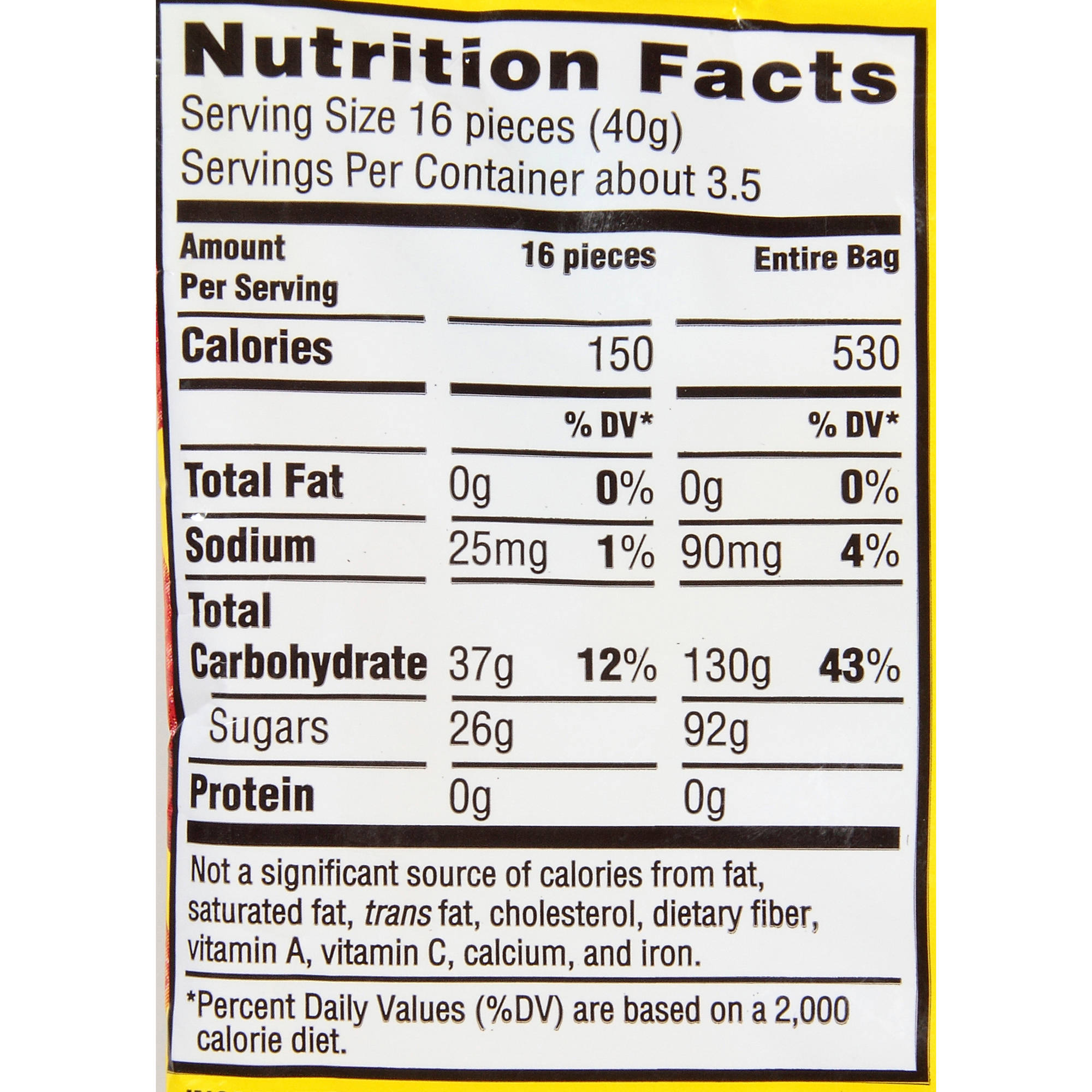 Nutrition Facts For Sour Patch Kids Candy