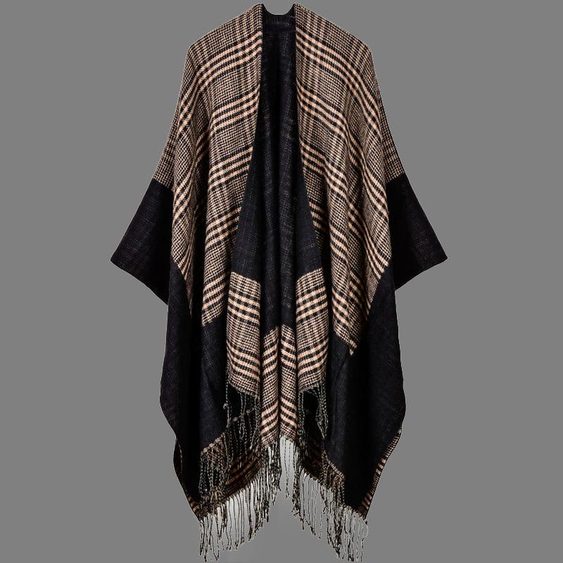 Cozy Poncho Long Shawl Fringe Wrap Cardigan Winter Warm Sweater Tassel Design