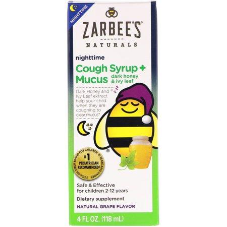 Zarbee s Naturals Children s Nighttime Cough Syrup Mucus Dark Honey Ivy Leaf Natural Grape Flavor 4 fl oz 118 ml