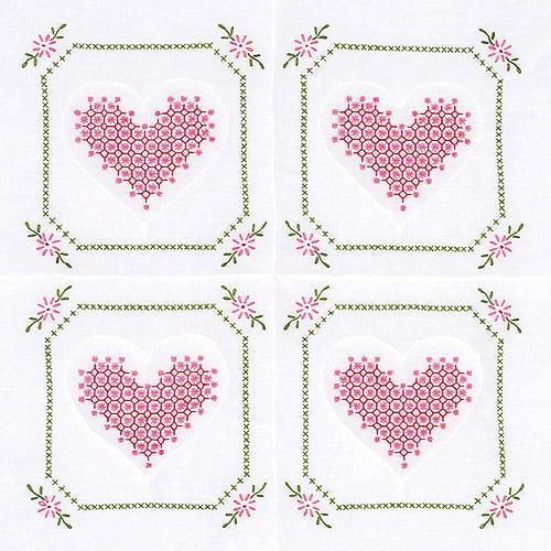 """Stamped White Quilt Blocks 18""""X18"""" 6/Pkg-Chicken Scratch Hearts"""