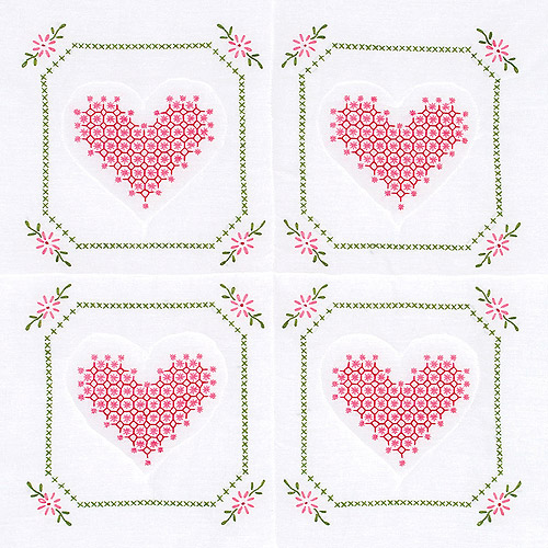 "Stamped White Quilt Blocks 18""X18"" 6/Pkg-Chicken Scratch Hearts"