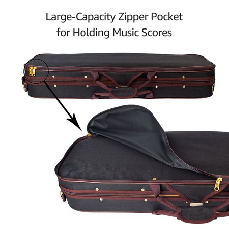 Professional 1/4 Full Size Violin Case Carrying Bag Oblong Shape Hard Case with Plush Lining Hygrometer and Portable Shoudler Straps Black - image 6 of 7