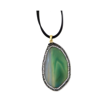 Green Slice Agate Necklace On Leather Cord With Crystal Cz Bohemian Style