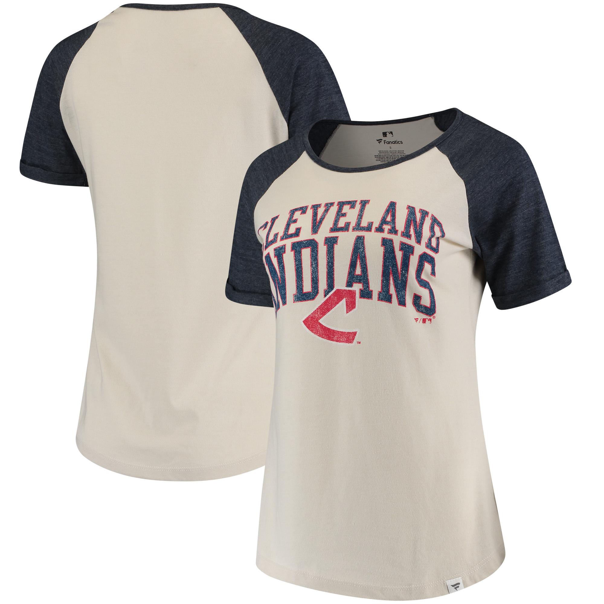 Cleveland Indians Fanatics Branded Women's True Classics Colorblock Raglan Tri-Blend T-Shirt - Cream/Navy