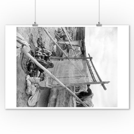 Navajo Women Weaving Blankets - Vintage Photograph (9x12 Art Print, Wall Decor Travel Poster)