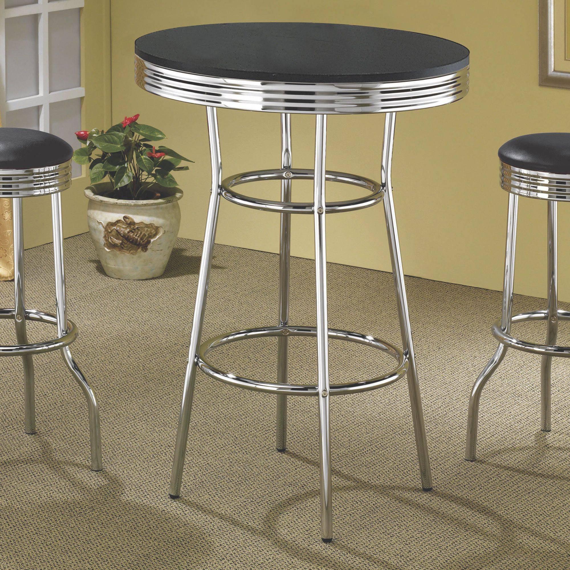 Coaster Company 1950's Black Retro Round Bar Table, Black/Chrome (stools sold separately)