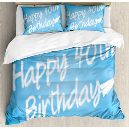 Ambesonne 40th Birthday Decorations Celebration Theme Clouds In Sky And Paper Plane Flying Print Duvet Cover Set