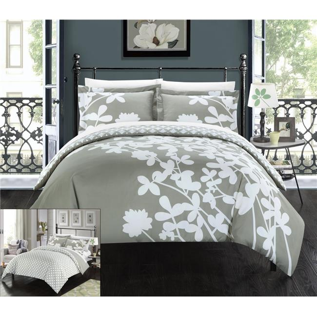 Chic Home DS3763-US Sweetpea Reversible Scale Floral Design Printed with Diamond Pattern Reverse Duvet Cover Set - Red - Queen & Large - 3 Piece