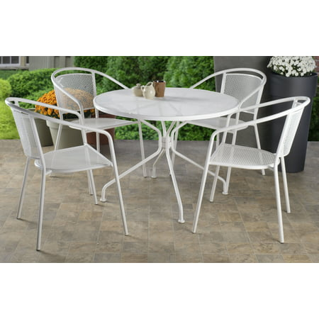 Alfresco Home Martini Café Dining Set With Table and 4 Chairs-Bianca Finish Alfresco Home Bar Set