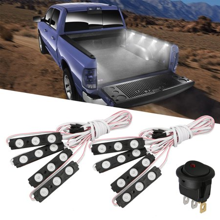 EEEKit 8 Pcs Waterproof Bright Pickup Truck Cargo Cars Bed Light Switch 24 LED Pod Kit Strip White