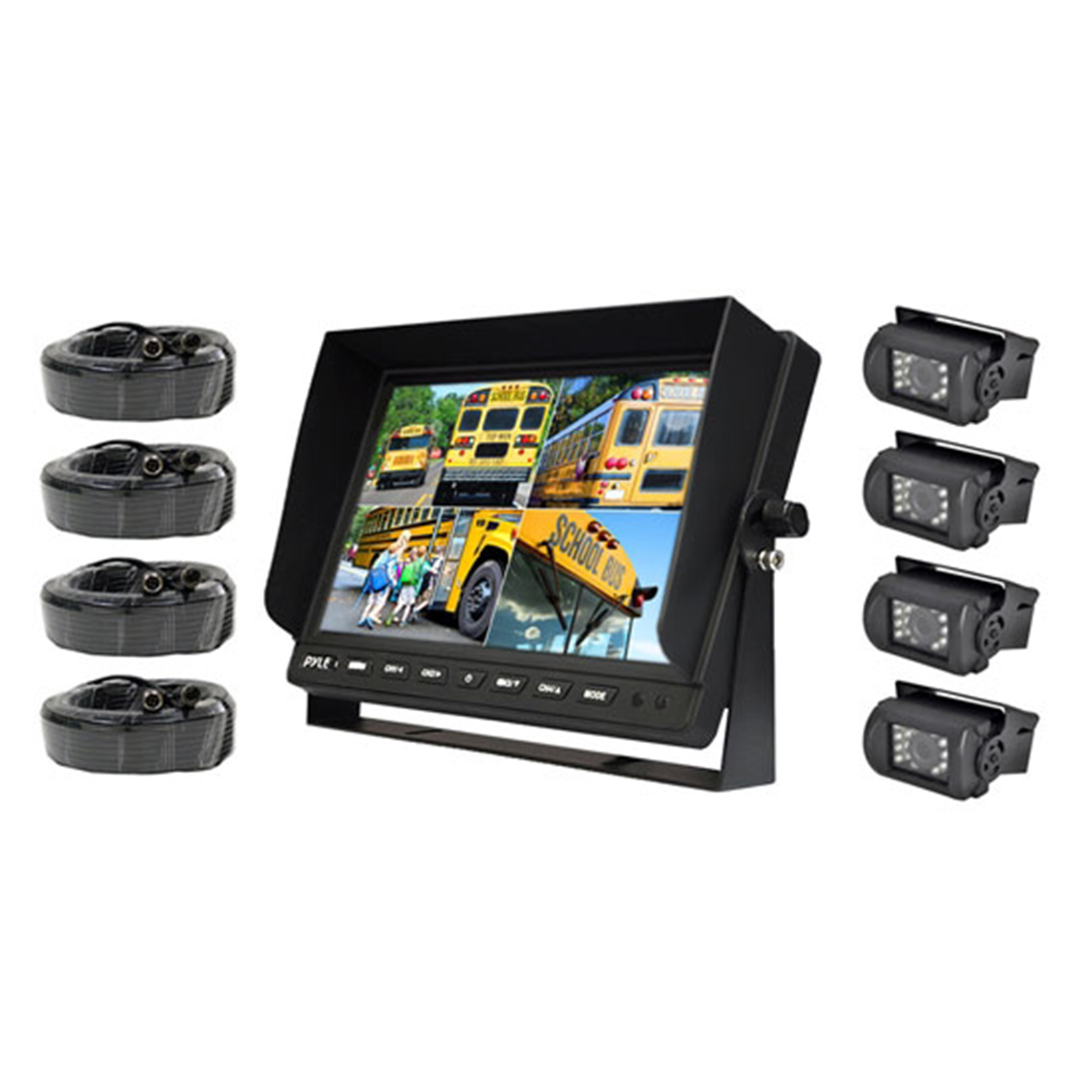 "Weatherproof Rearview Backup Camera & Monitor Safety Driving Video System, 10"" Monitor, (4) Night Vis Cameras, Commercial Grade, Dual DC Voltage 12-24 for Bus, Truck, Trailer, Van"