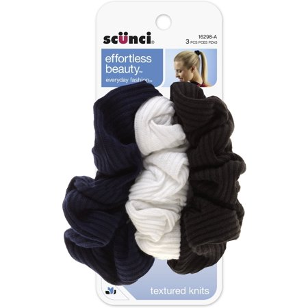 Scunci Effortless Beauty Basic Ruffle Ribbed Twist Scrunchies 3 ea (Wholesale Scrunchies)