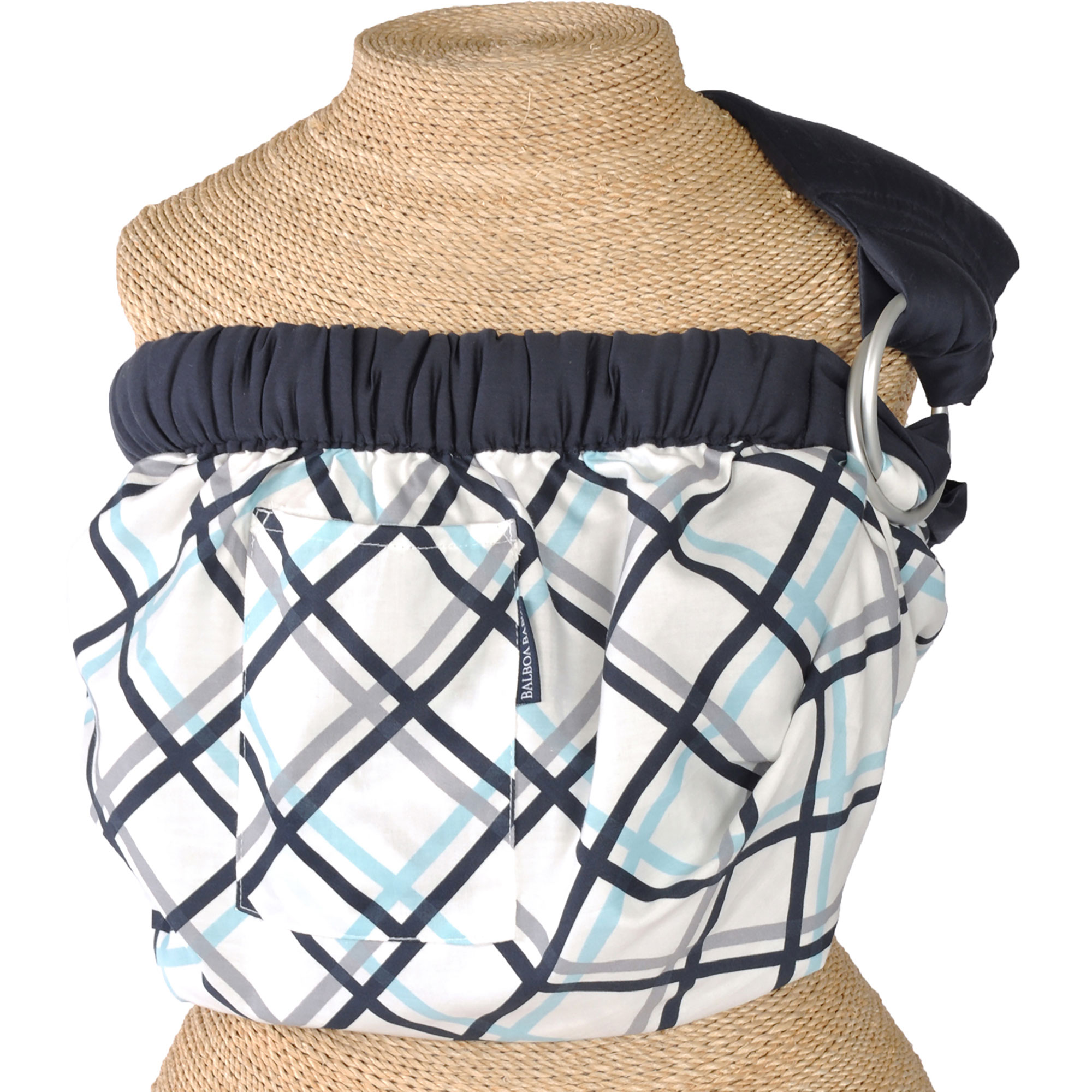 Balboa Baby Sling - Dr. Sears Adjustable Sling Carrier - Navy Plaid Design