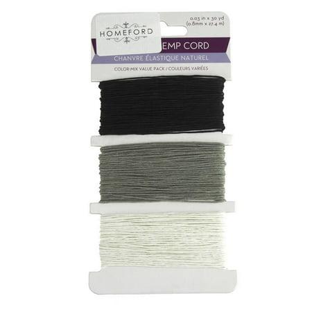 Dyed Black Hemp (Natural Hemp Cord Color Mix, 0.8mm, 30 Yards, Black)