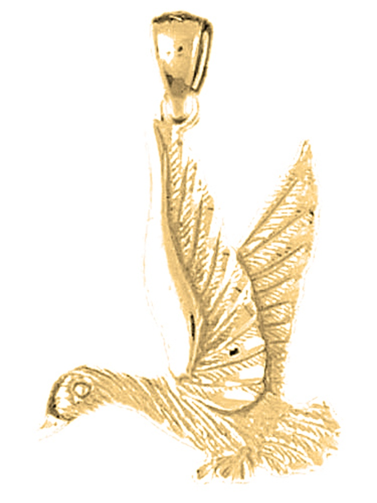31mm Silver Yellow Plated Duck Pendant