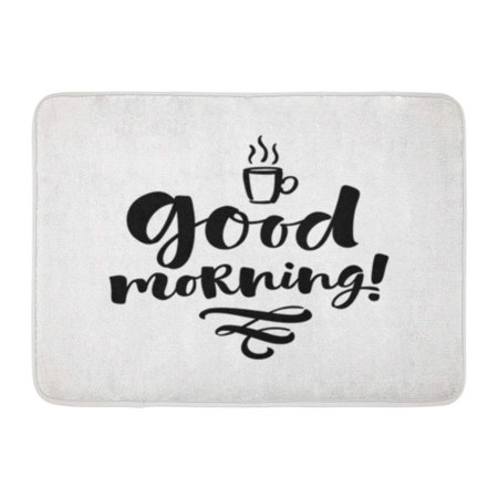 SIDONKU Artistic Good Morning Lettering Phrase Modern Brush and Badge Doormat Floor Rug Bath Mat 30x18 - Artistic Purse