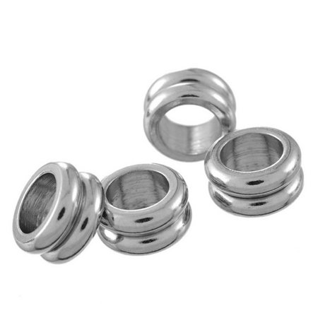 10pcs Stainless Steel Double Circle Spacer Beads Jewelry Findings 11mm Dia