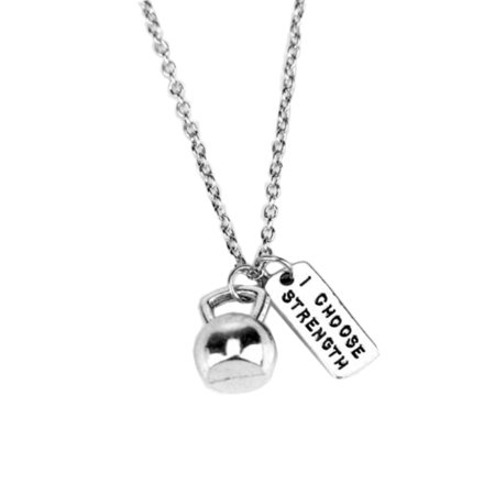 StylesILove Unisex Silver Weight Lifting Fitness Sports Charms Pendant Necklace (Kettlebell & I CHOOSE