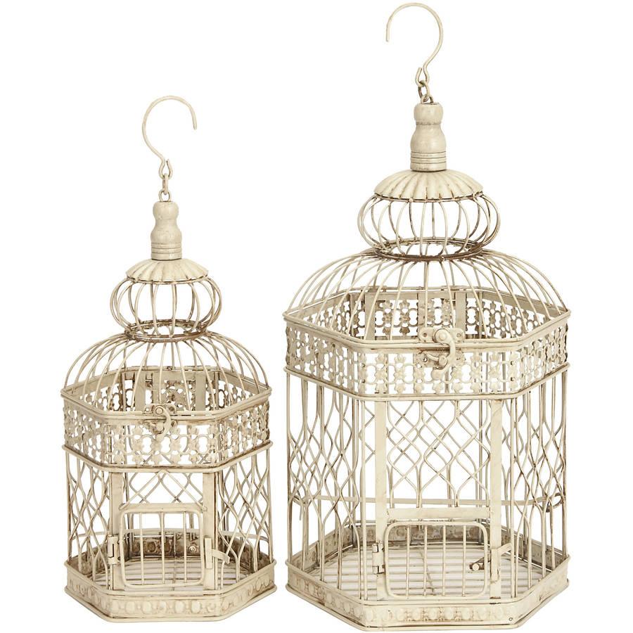 Decmode Metal Bird Cage, Set of 2, Ivory by DecMode