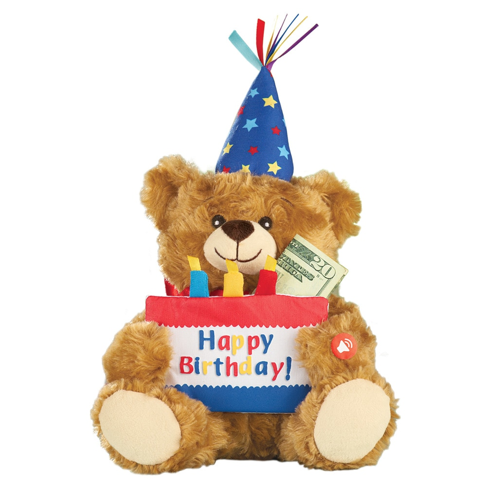 Musical Happy Birthday Plush Bear with Cake-Shaped Holder for Gift Cards or Cash
