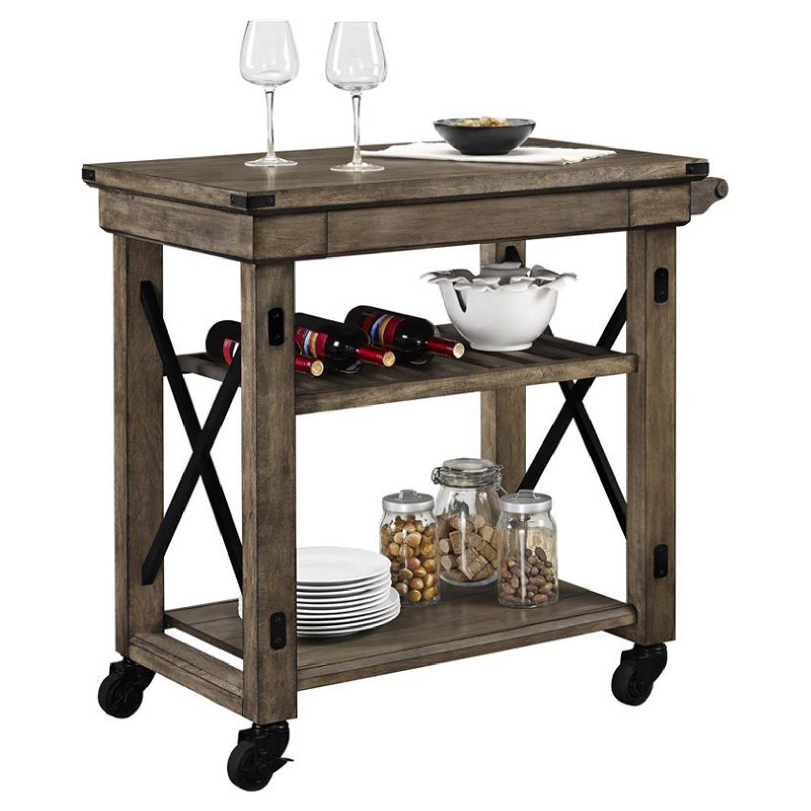 Altra Furniture Altra Wildwood Wood Veneer Multi-Purpose Rolling Cart - Rustic Gray
