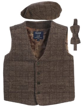 Gioberti Kids and Boys 3pc Tweed Vest with Matching Cap and Bow Tie