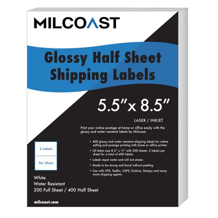 Milcoast 400 Half Sheet Shipping Labels Glossy Water Resistant for Laser or InkJet Printer 5-1/2